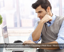 Man Reading Web Hosting Terms and Conditions
