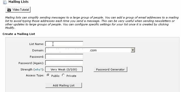 Creating a Mailing list on BigRock5