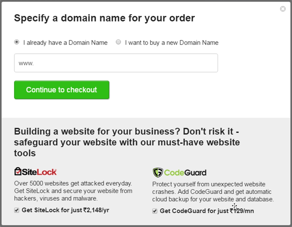 Specify A Domain Name For Your Order