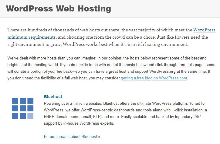 WordPress.org Web Hosting Recommendation