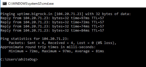 Bluehost Ping Response Time